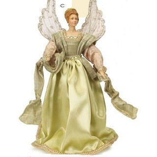 "18"" Moss Green and Natural Tan Decorative Angel Tree Topper - Unlit"