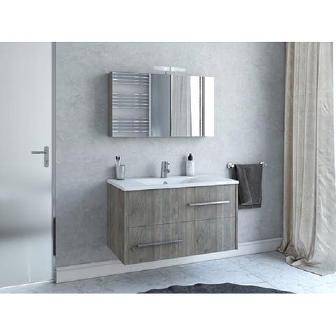 """36"""" Thalia Grey Wood Floating Vanity with Integrated Porcelain Sink"""