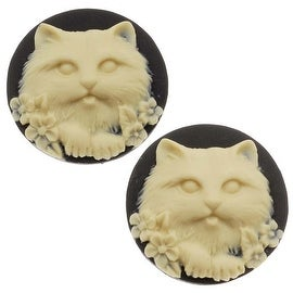 Lucite Round Cameo Black With Cream Cat's Face 25mm (2 Pieces)