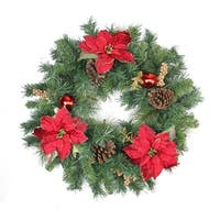 """24"""" Pine Poinsettia Berry and Pine Cone Artificial Christmas Wreath - Unlit"""