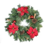 "24"" Pine Poinsettia Berry and Pine Cone Artificial Christmas Wreath - Unlit - green"