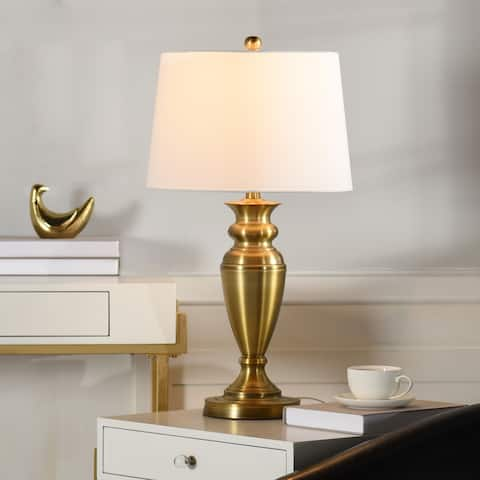 Copper Grove Elbasan Brass Urn-shaped Table Lamp with Drum Shade
