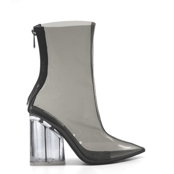 927bb6373 Cape Robbin Crystal Glaze Womens Perspex Lucite Clear Pointy Toe Chunky Heel  Ankle Boots