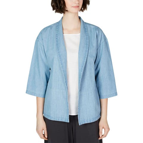 Eileen Fisher Womens Kimono Cotton Denim - Blue