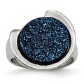 Chisel Stainless Steel Polished with Blue Druzy Stone Ring - Thumbnail 0