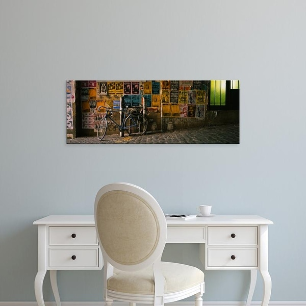 Easy Art Prints Panoramic Images's 'Bicycle against wall with posters, Post Alley, Seattle, Washington' Canvas Art