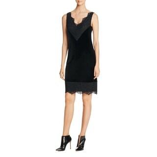 Calvin Klein Womens Slip Dress Velvet Lace Trim