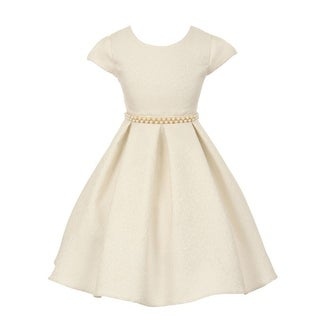 Good Girl Girls Off-White Embroidered Jacquard Junior Bridesmaid Dress (Option: 8)