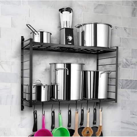 2-Tiered Wall Mounted Pot Rack Hanging Rack for Kitchen Storage and Organization