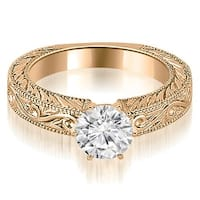 0.50 cttw. 14K Rose Gold Antique Round Cut Diamond Engagement Ring