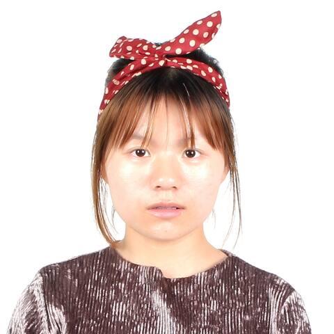Lady Dots Pattern Wired Head Scarf Wrap Twist Bowknot Headband Headwear Hairhoop