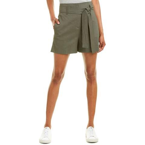 Theory Belted Linen-Blend Short
