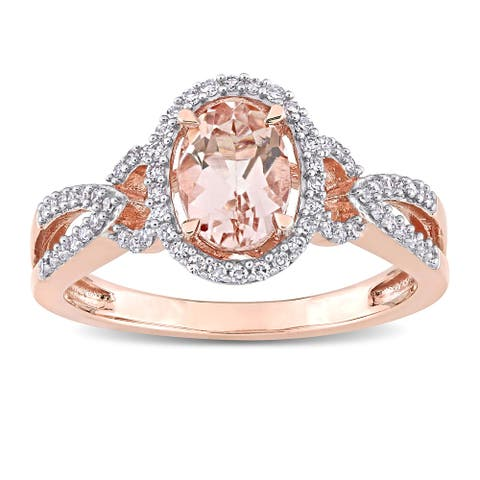 Miadora 14k Rose Gold Oval-cut Morganite and 3/4ct TDW Diamond Loop Halo Engagement Ring