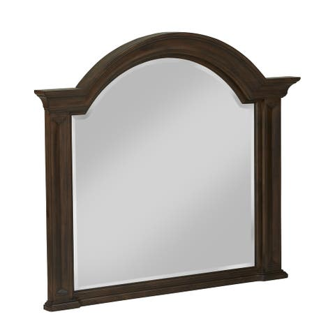 Colston Solid Wood Beveled Glass Mirror in Burlap