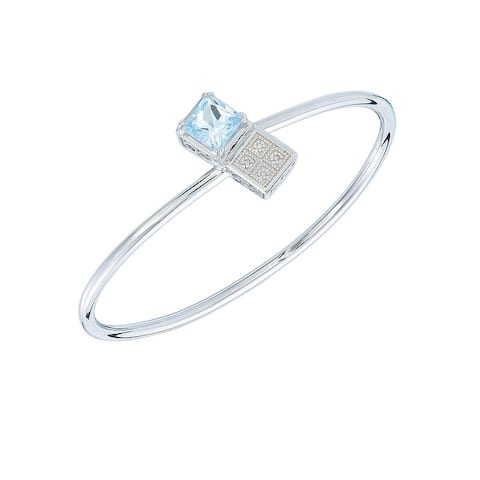 2 cttw Princess Cut 8 MM Blue Topaz and Diamond Cuff Bangle Brass with Rhodium