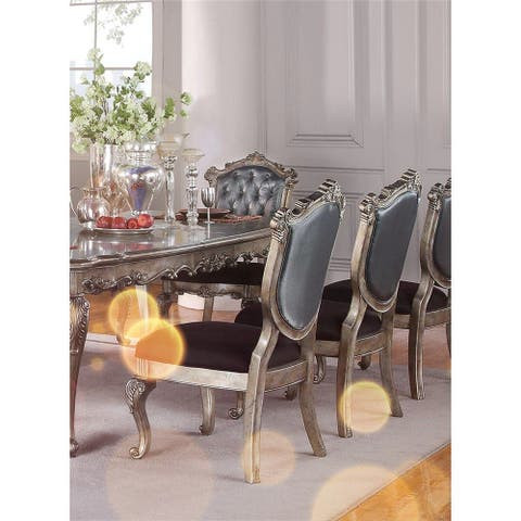ACME Chantelle Side Chair (Set-2) in Silver Gray Silk-Like Fabric