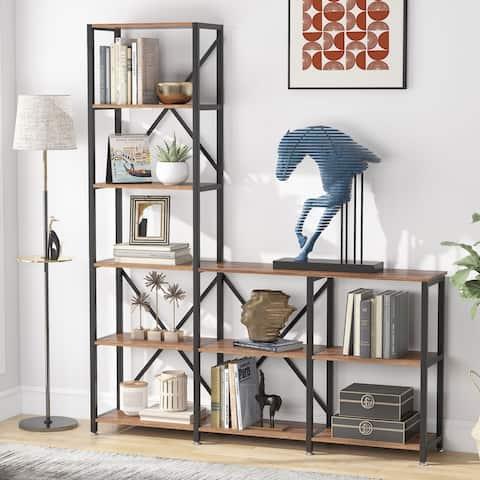9 Shelves Bookshelves, Industrial Ladder Corner Etagere Bookcase