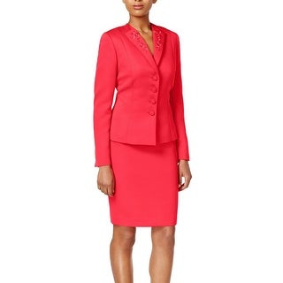 Tahari By ASL NEW Pink Coral Women's Size 6 Embroidered Skirt Suit Set