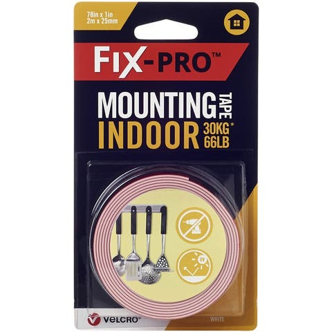 "Velcro(R) Brand Fix-Pro Indoor Mounting Tape 1""X6.5'-White, 66Lb - White"