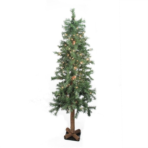 7' Pre-Lit Woodland Alpine Artificial Christmas Tree - Clear Lights - green