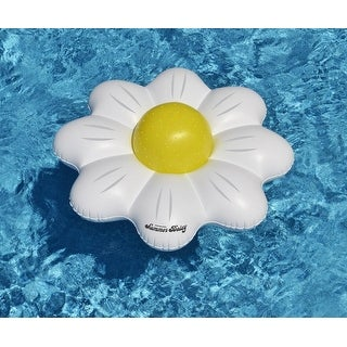 "48"" White Summer Daisy Inflatable Novelty Swimming Pool Inner Tube with Yellow Polka Dot Beach Ball"