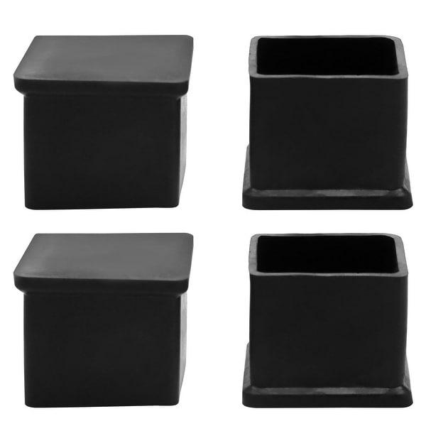 Unique Bargains 4 x Black Chair Furniture Foot Nonslip Square Shape Cover Pad 25mm x 25mm