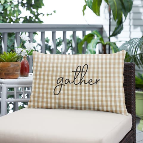 """Beige White Check """"Gather"""" Indoor/ Outdoor Pillow, 13 in x 20 in"""