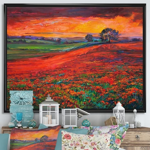 Designart 'Blossoming Poppy Fields During Summer Sunset' Farmhouse Framed Canvas Wall Art Print