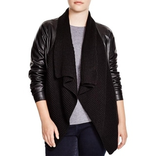 BB Dakota Womens Plus Alston Jacket Faux Leather Open Front