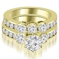 2.75 cttw. 14K Yellow Gold Bezel Set Round Cut Diamond Engagement Set - White H-I - Thumbnail 0