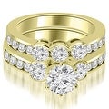 3.00 cttw. 14K Yellow Gold Bezel Set Round Cut Diamond Engagement Set - White H-I - Thumbnail 0