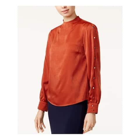 BAR III Womens Orange Embellished Long Sleeve Turtle Neck Top Size M