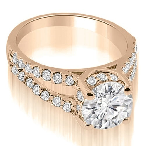 1.44 cttw. 14K Rose Gold Lucida Cathedral Split Shank Diamond Engagement Ring