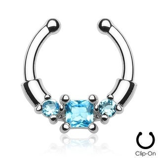 Square Center CZ with Gems Non-Piercing Septum Hanger (Sold Ind.)