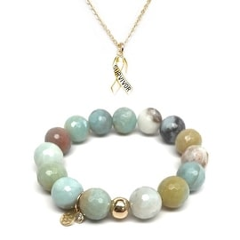 "Julieta Jewelry Set 12mm Green Amazonite Lauren 7"" Stretch Bracelet & 16mm Survivor Ribbon Charm 16"" 14k Over .925 SS Necklace"