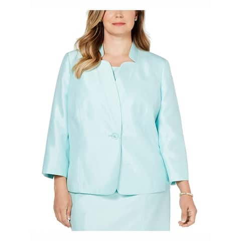 Kasper Women's Jacket Aqua Green Size 20W Plus Shiny Single Button