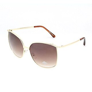 Mechaly Rectange Style Sunglasses with Gold Frame & Brown Lens