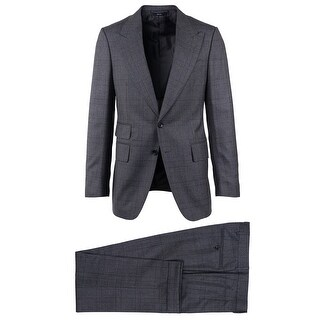 Tom Ford Mens Grey Wool Checked Peak Lapel Two Button Front Suit - 38 r