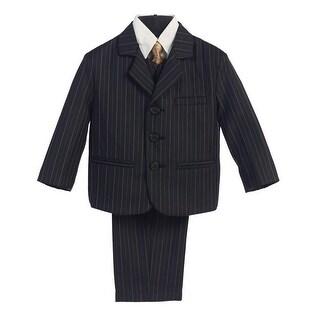 Boys Black Gold Pin Stripe 5 Pcs Special Occasion Suit 8-14