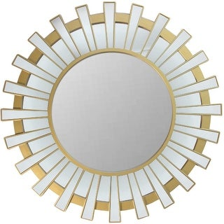 "25.5"" Matte Gold and Clear Sunburst Round Wall Mirror - N/A"