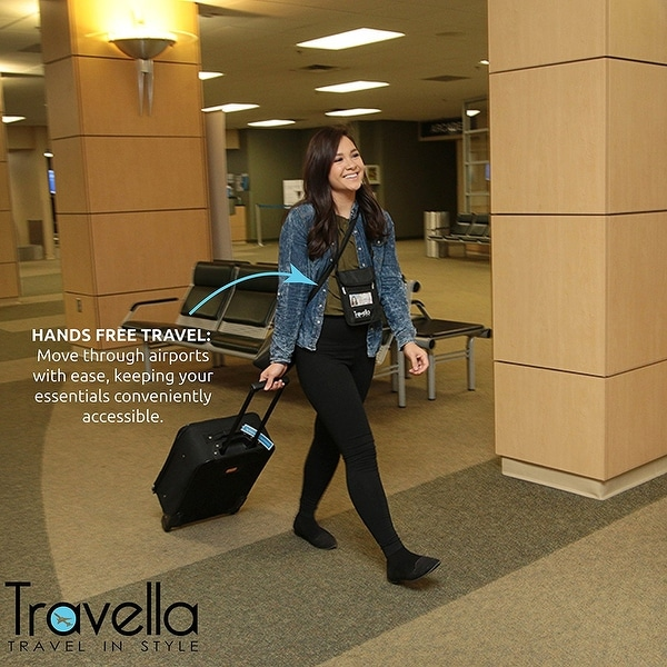 4 Colors RFID Travel Wallet Neck Strap Passport Holder Free Your Hand Black