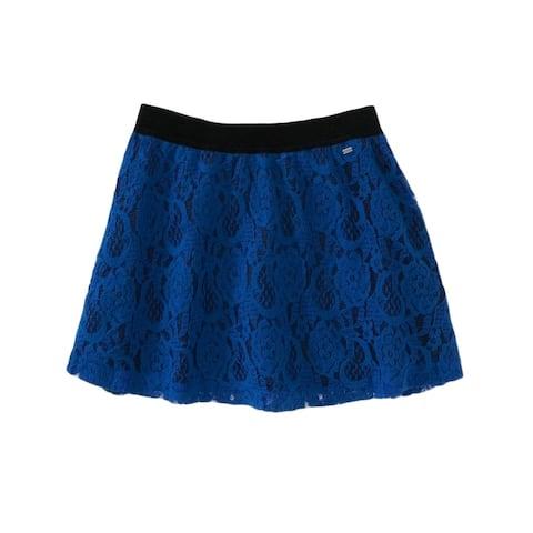 Aeropostale Womens Lacey Overlay Woven Mini Skirt, Blue, X-Large