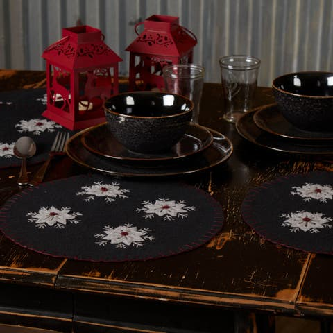 Christmas Snowflake Tablemat Felt Embroidered 13 Set of 6 - Tablemat 13