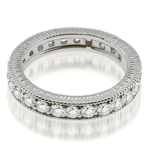 1.30 cttw. 14K White Gold Vintage Milgrain Round Cut Diamond Eternity Band Ring