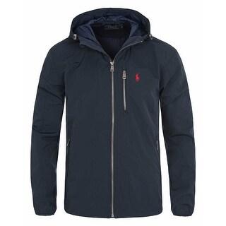 Polo Ralph Lauren Big and Tall Hooded Down Windbreaker Jacket Navy Blue 2XLT