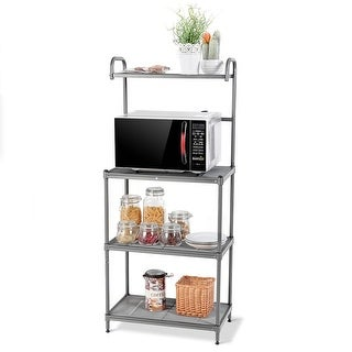 Costway 4-Tier Baker's Rack Microwave Oven Stand Shelves Kitchen Storage Rack Organizer - as pic
