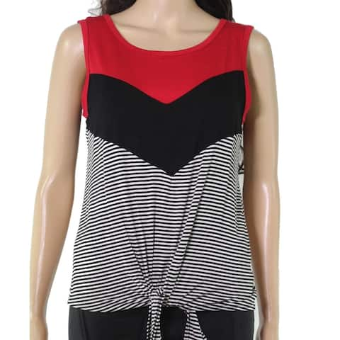 Moa Moa Junior's Top Red Size Small S Mixed Print Tie Front Tank