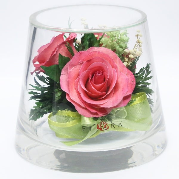 Preserved Bright Pink Roses Arrangements and Centerpiece In Vase