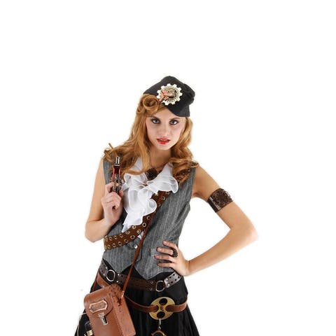 Steampunk Grey Naval Officer Costume Hat Adult - Gray