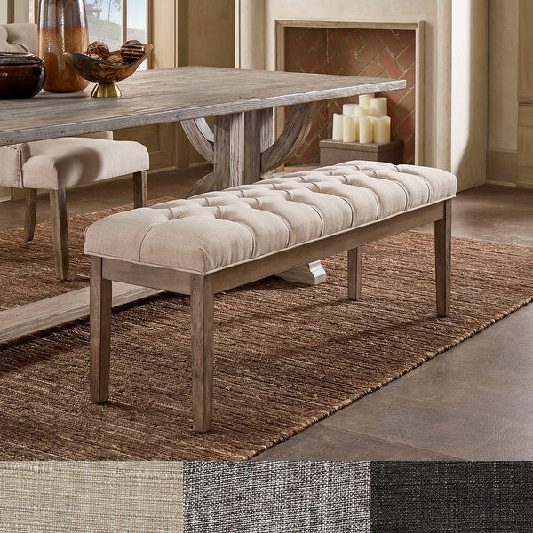 Benchwright Premium Tufted Reclaimed 52-inch Upholstered Bench by iNSPIRE Q Artisan. Opens flyout.